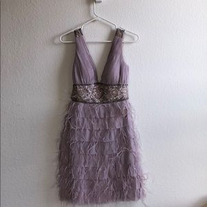 Lavender sequin and feather dress